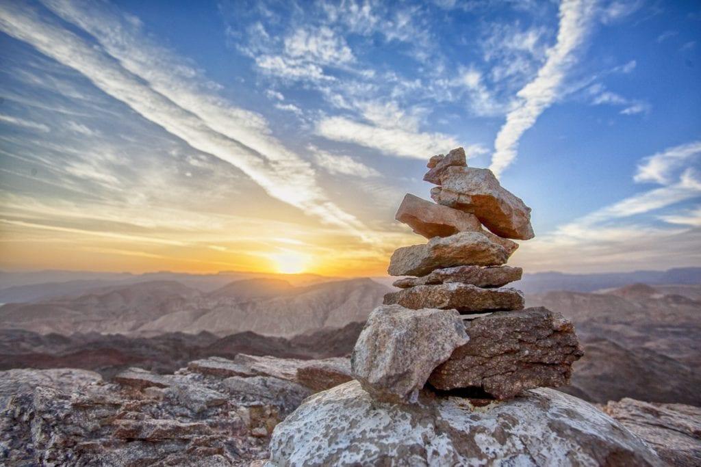 rocks, balance, sunset